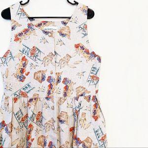 VINTAGE Farm Country Print Picnic Dress Button